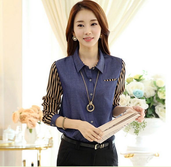 AR010 autumn all matching professional working lady denim striped blouses