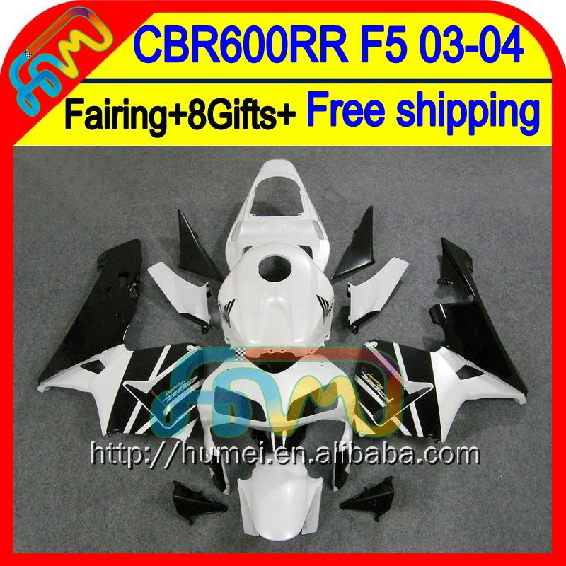 8Gifts Injection Black white For HONDA CBR600RR 03-04 F5 50HM26 CBR600 RR CBR 600RR 600 RR Black white 03 04 2003 2004 Fairing