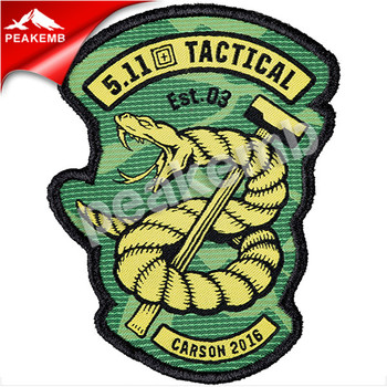 Fabric logo brand diy 3d embroidery snake morale tactical patches