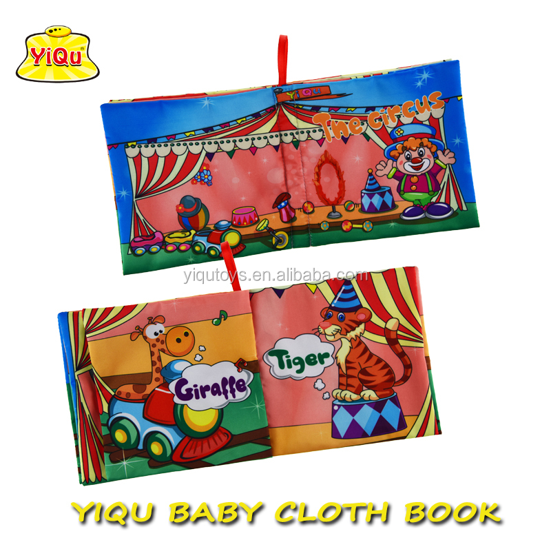 Baby soft cloth book infant fabric circus book for babies kids quiet story book for kids