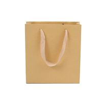 Recycled strong brown shopping kraft paper bag with rope handles