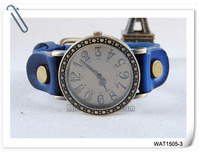 Top quality royal blue long leather strap watch