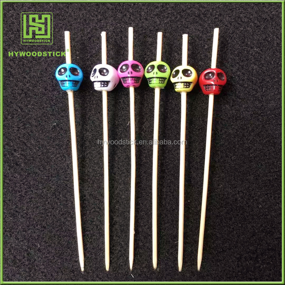 Innovative Customized Decor Colorfully Halloween Skull Bamboo Sticks