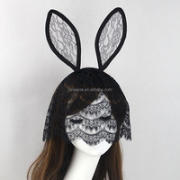 Wholesale Black Floral Lace Rabbit Bunny Ears Veil Christmas Headband