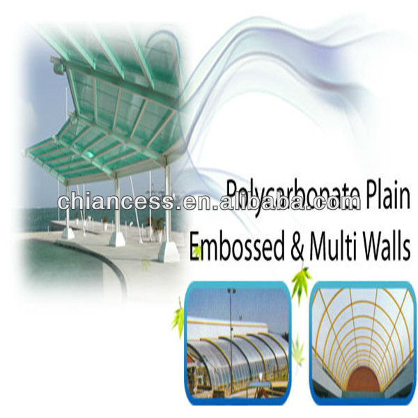 Multi wall Embossed Polycarbonate Plain PC Sheet for roofing/greenhouse