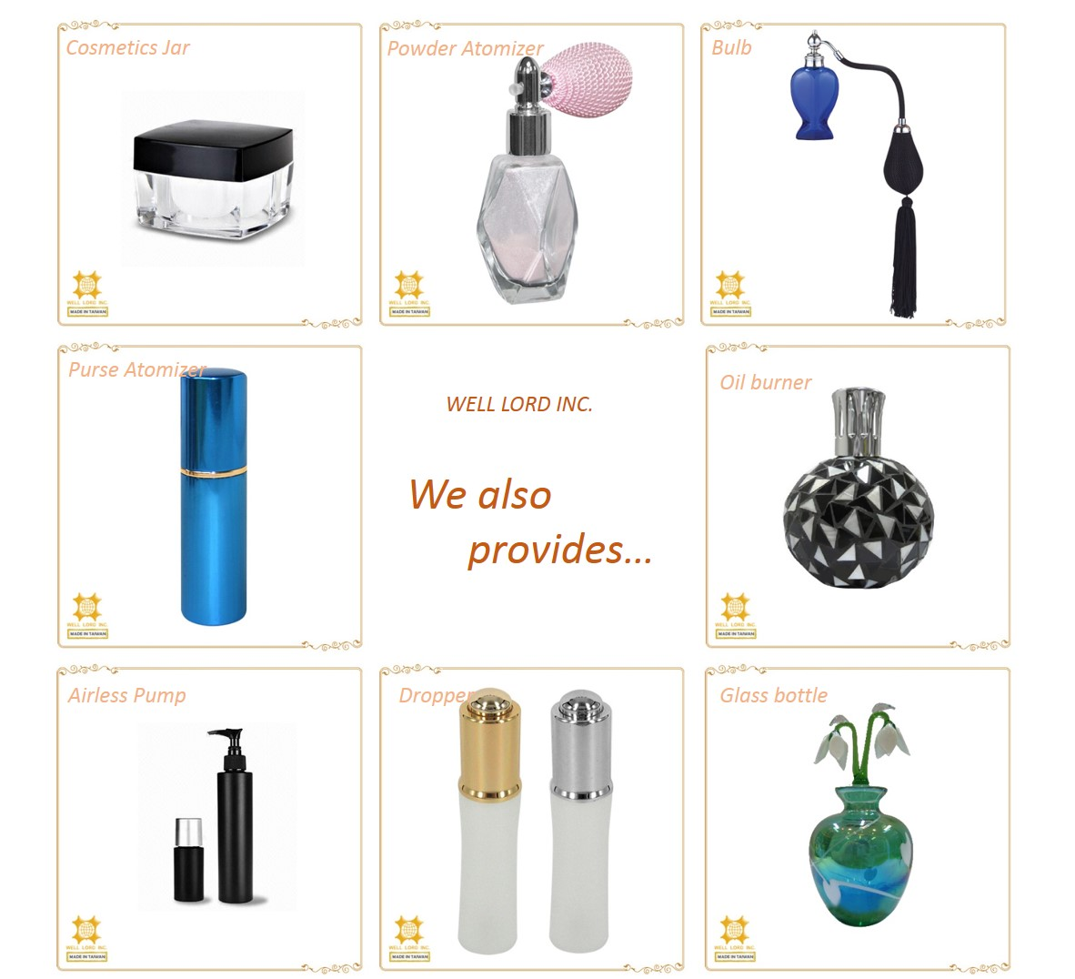 Colorful elegant luxury made in Taiwan beautiful high fashion house decors glass perfume empty bottle