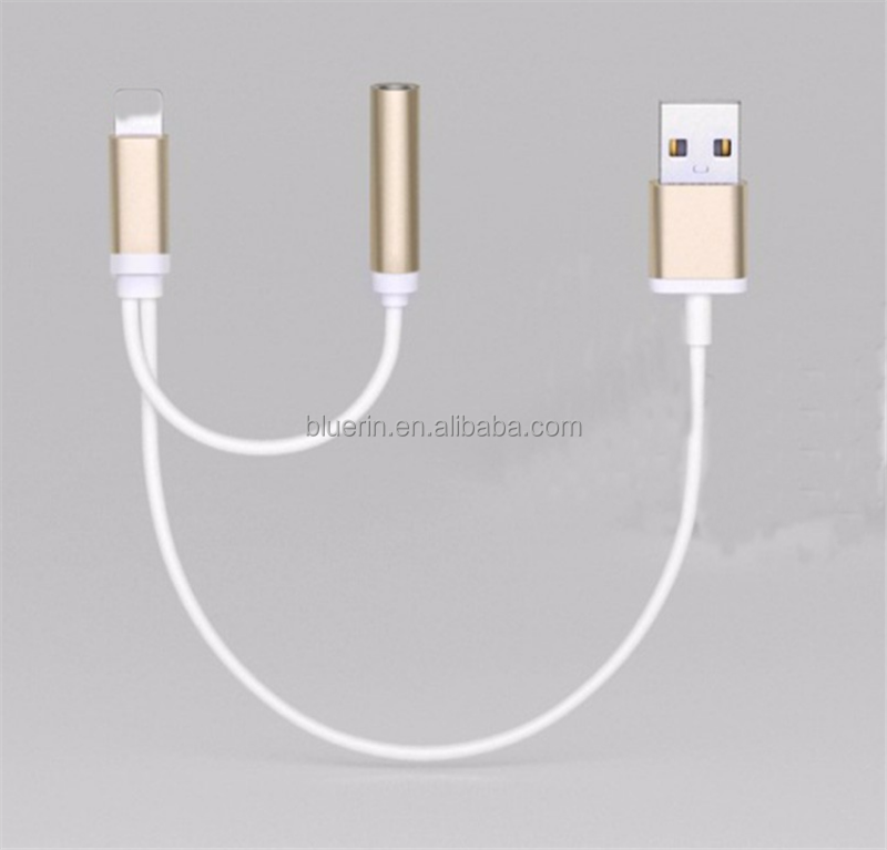 8pin to 3.5mm headhone jack splitter audio adapter charging cable for iphone 7/7 plus aux cable