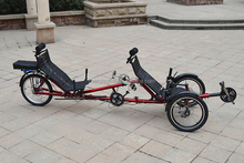 Rear Wheel Drive 500W Motor Recumbent Tandem Electric Tricycle