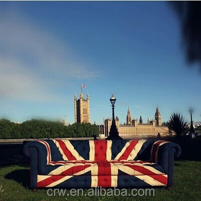 SF-4092 Vintage elegant style union jack fabric sofa for living room