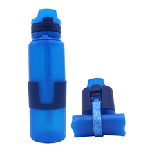 650ML Hot Sale Sport Free <strong>Samples</strong> 650ml Rollable Running Bike Silicone Collapsible sustainable Water Bottle