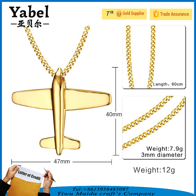 Hot Sale Gold Plated Airplane Pendant Necklace Stainless Jewelry