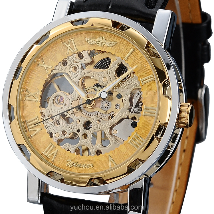 Brand new hand wind mechanical skeleton watch winner with good quality