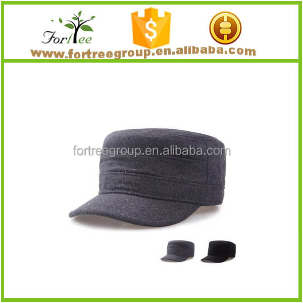 high quality wholesale custom made wool fabric flat top military army hat