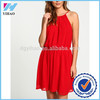 New fashion 2015 summer ladies clothing high neckline Red Pleated Chiffon Flare Dress