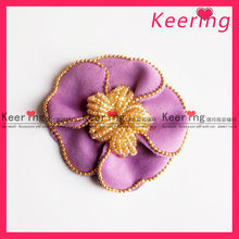 beaded purple flower fabric flower for hair for shoes WPH-1461
