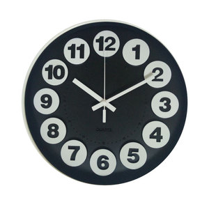 12 inches modern design round 3d wall clock 12 hour