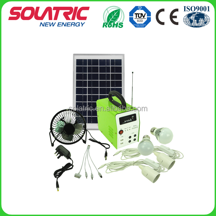 Hot selling 10W Portable solar system home power kit for mobile charger with FM radio & MP3 player