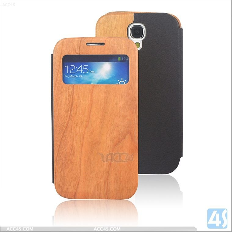 window style Wood PU Leather Stand Case for Samsung Galaxy S4 I9500