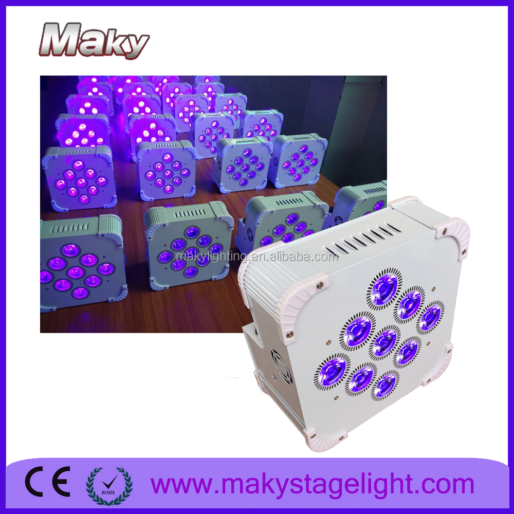 Guangzhou Maky RGBAW+UV battery wireless slim par lighting / wireless battery powered led flat par lighting