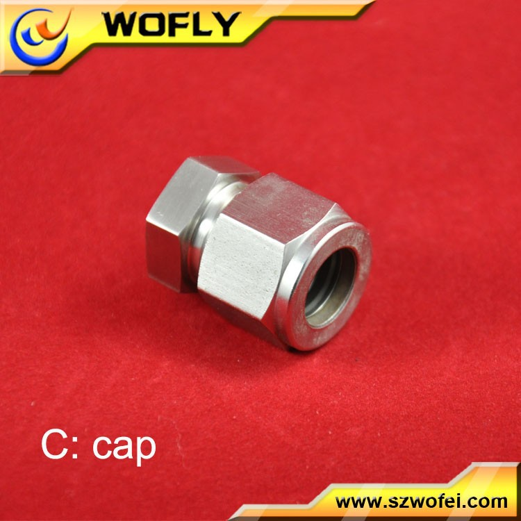 SS316 2000psig pressed 1/4 inch OD end tube plug cap for steel tube