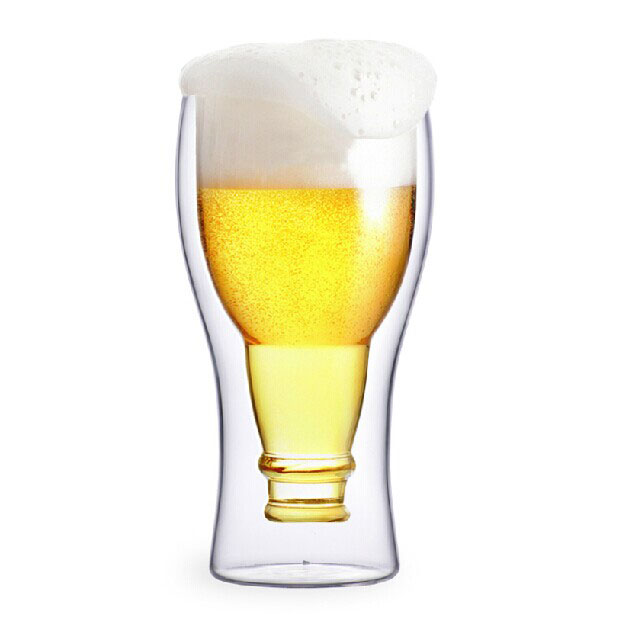 Creative Bar Drinking Double Wall Upside Glass Beer Mugs Wholesale