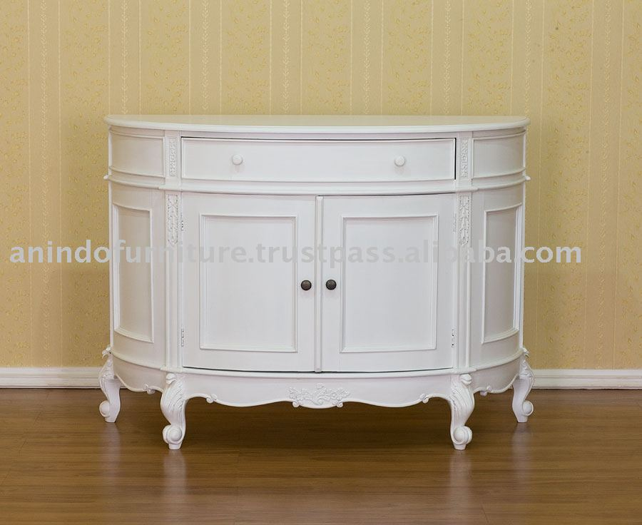 White Painted Furniture - French Half Round Cabinet
