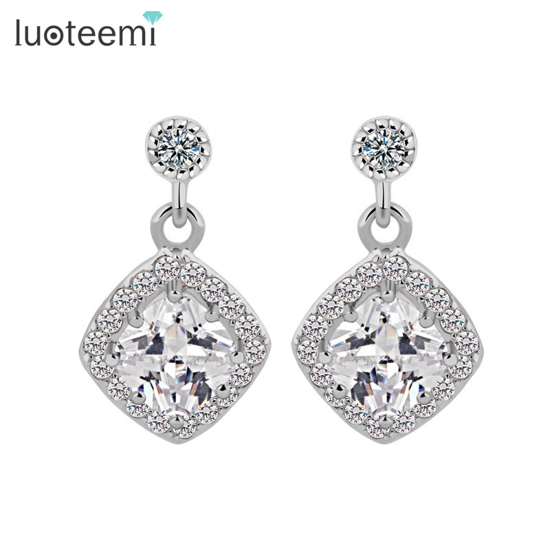LUOTEEMI Wholesale Fashion Design contracted pop Cubic zirconia Lady Women Dangler Wedding Bridal Jewelry Earring