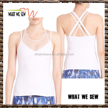 wholesale bulk white bamboo ladies tank tops dir fit strappy criss-cross tank tops