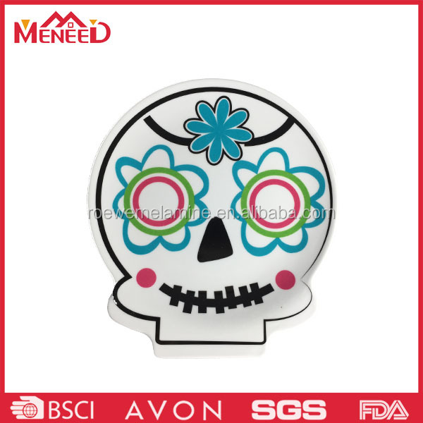 Halloween hot sell skull shape melamine candy plate