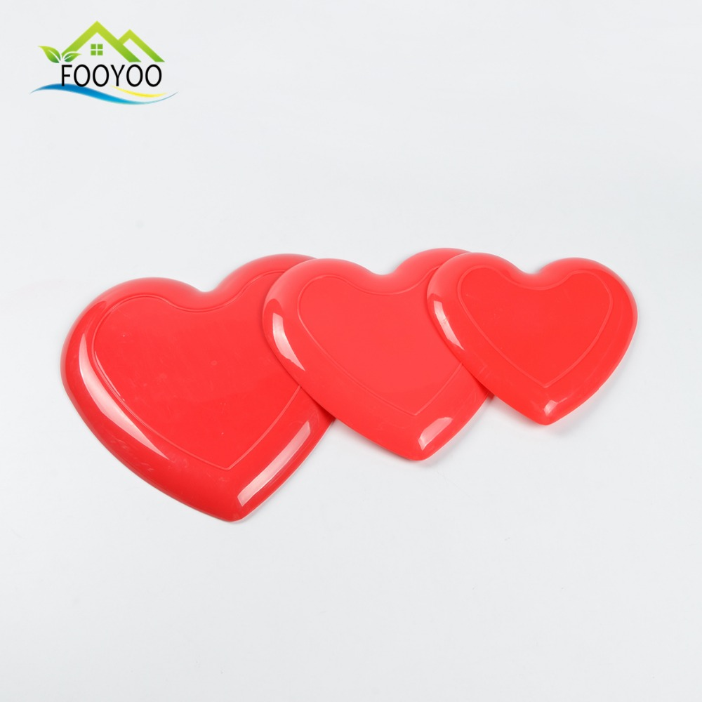 FOOYOO FY-1129/1130/1131 Three pieces different sizes heart shape plastic dessert tray set