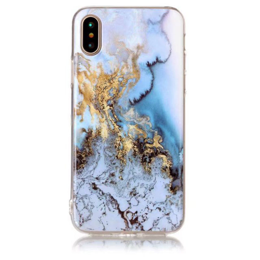 Slim Fit Soft Gel Rubber TPU Cover Case for iphone X IMD Design Marble Pattern Cute Creative Painted CA5866