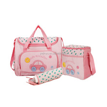 Cute Car Baby Diaper Bag Canvas Tote Shoulder Bag with Changing Pad & Bottle Holder mum baby bag mm002