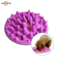 Soft silicone slow food dish feed bowl for cats and dog
