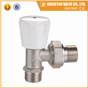 K144 CE approved forging brass radiator valve nickel plated with white wheel handle and original color thread hex nut size 1/2""