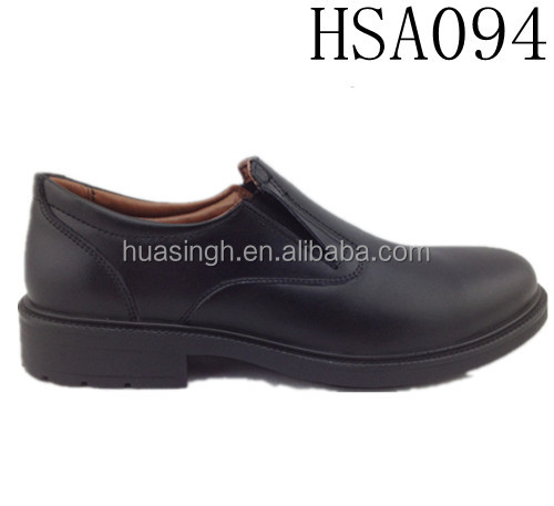 pull on style genuine leather anti-slip men official shoes for police parade