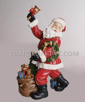 Polyresin holding gift bell bag santa claus craft christmas decorations made in china