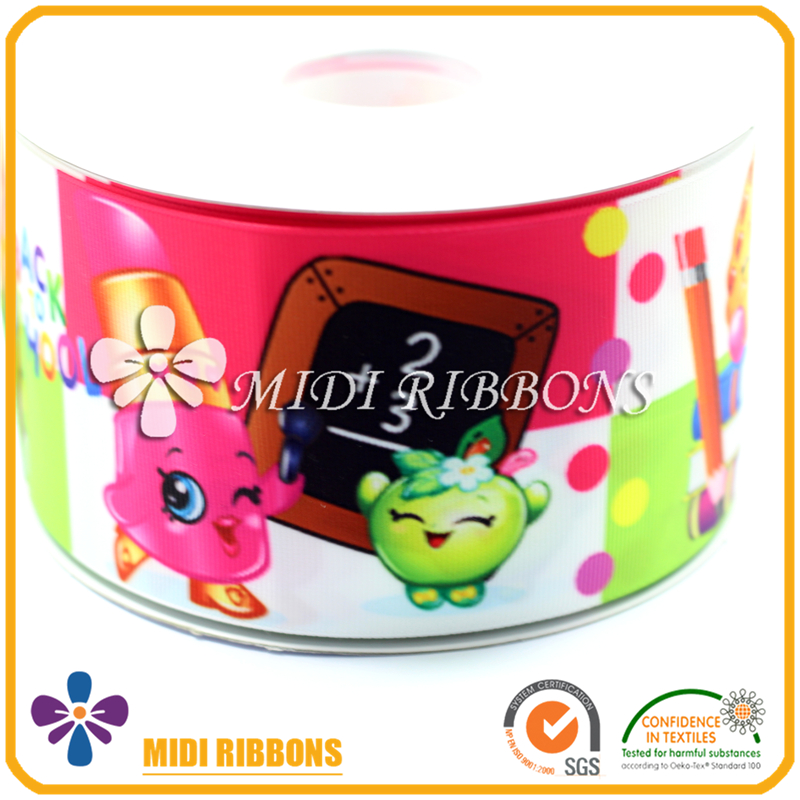 3 inch Wide Custom Printed Back To School Cartoon Character Ribbon 50 Yards Wholesale