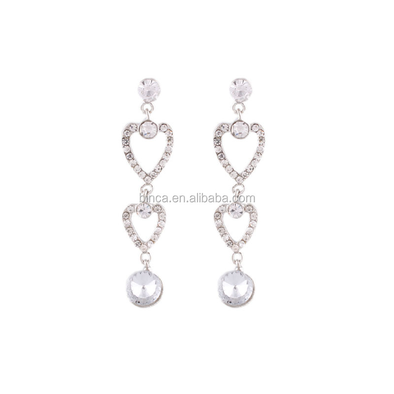2014 Fashion heart Rhinestones stud Earrings E59