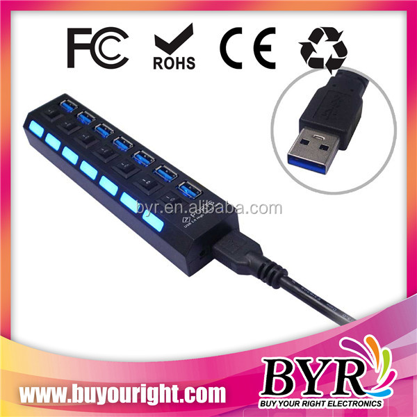 led 7 ports usb 3.0 hub with switch power control