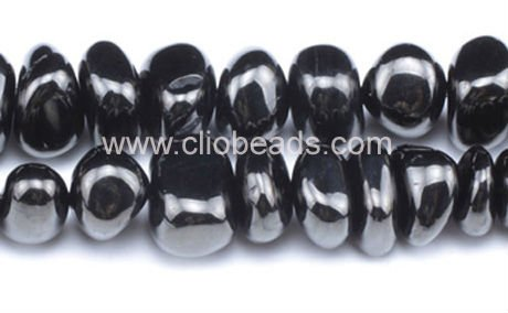 Black Amber Center Drilled Nuggets Beads