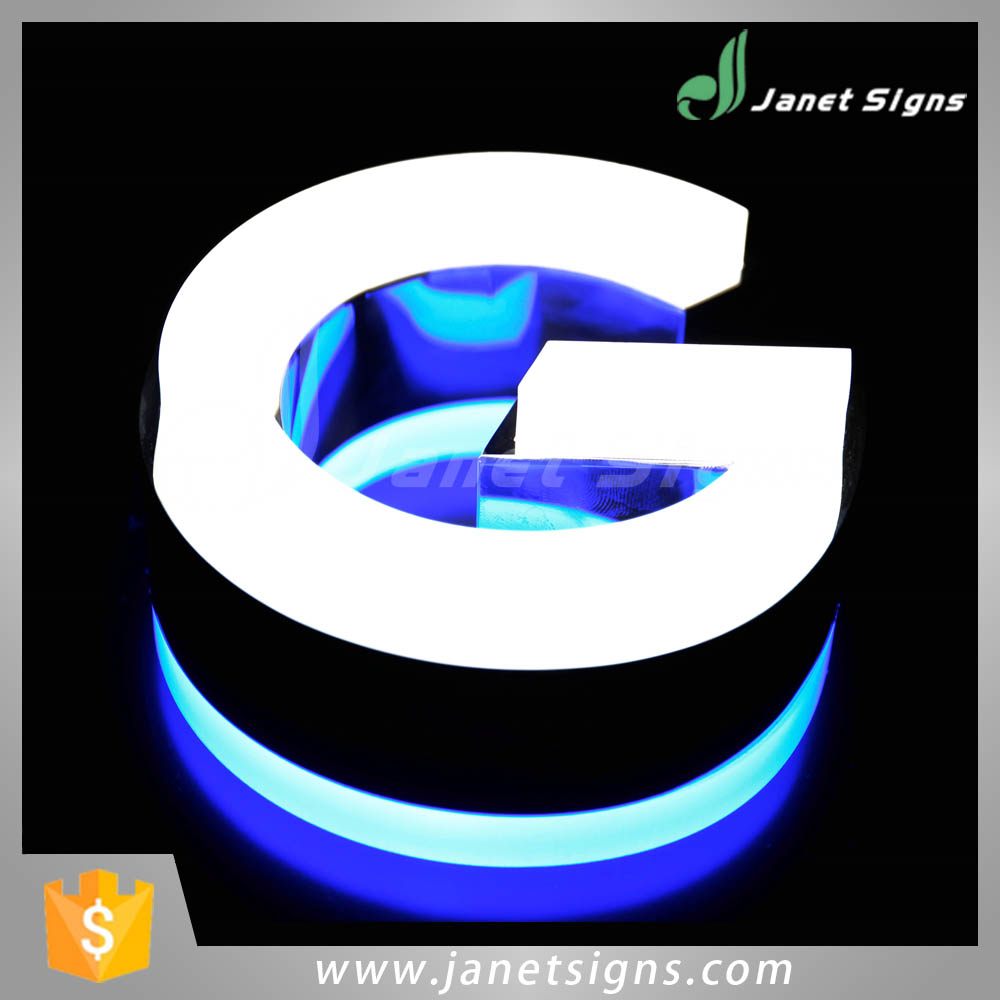 High quality 3D front lit led stainless steel metal building letters