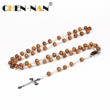 Yiwu Hot Sale Chain 5*7mm Catholic cross Rosary Wood chain Necklace for friendship gift