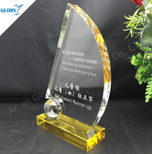 2016 boat shape crystal trophy award for event souvenir