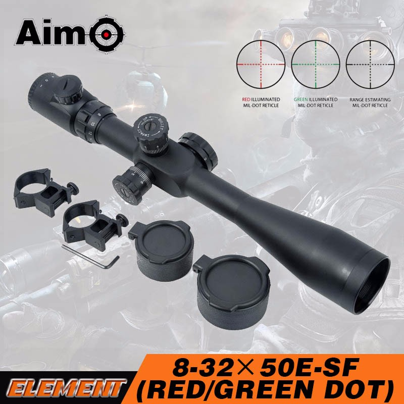 Aim-O Sniper Tactical airsoft shooting Scopes 8-32x50 SF Red Green Reticle Hunting Riflescope AO 5304