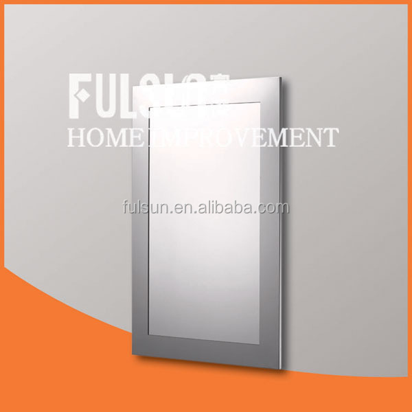 Large Wall mounted stainless steel frame bathroom mirror