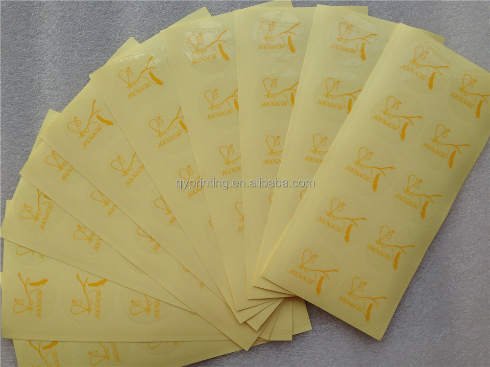 Custom printing self adhesive transparent clear PET Vinyl PVC stickers gold silver printing labels