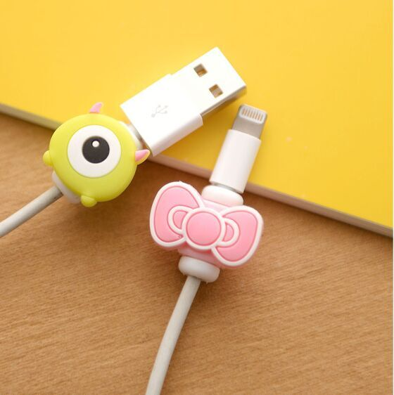 OEM cartoon animal silicone cable protector for mobile phone