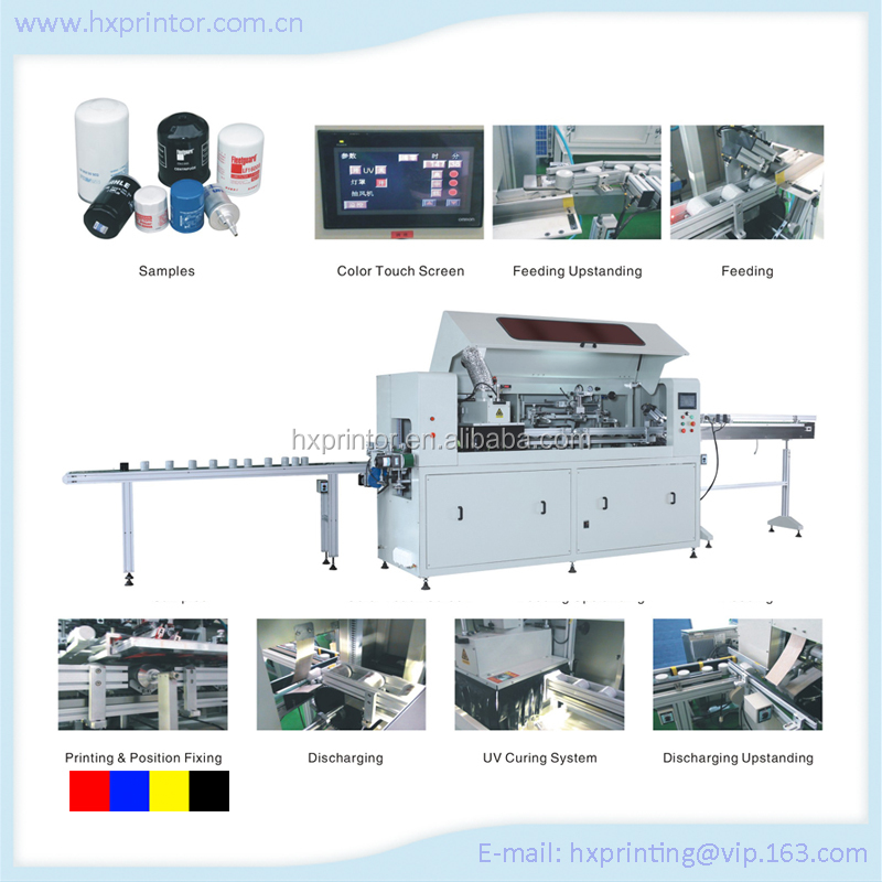 HS-ASPM1 factory supply Automatic oil fiter screen printing machine with UV curing system