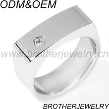 Men's Stainless Steel CZ Saddle Ring
