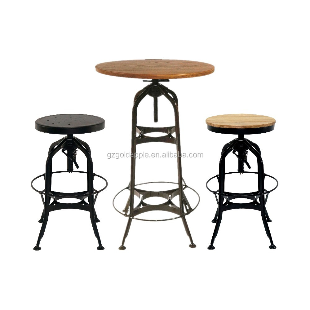 Vintage Industrial Toledo High Bar Table And Stool Chairs